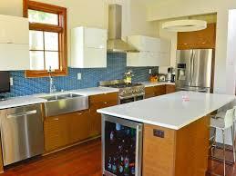 mid century modern walnut kitchen cabinets mid century modern kitchen with blue tile white cabinets