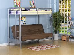 grey metal bunk bed having brown couch on laminate flooring plus