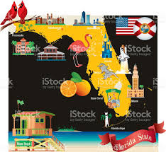 Map Of Clearwater Beach Florida by Cartoon Map Of Florida Stock Vector Art 467107148 Istock