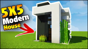 Modern House Minecraft Minecraft 5x5 Modern Starter House Tutorial How To Build A