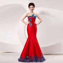 wedding dresses strapless red wedding dresses with blue ornament