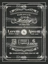 Invitation Card Vintage Frame Wedding Invitation Card On Black Chalkboard Stock