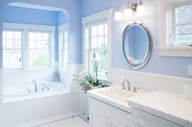 Light Blue Paint by Blue White Bathroom Design Using Round Chrome Bathroom Mirrors