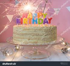 birthday cake sparklers happy birthday cake sparklers greeting card stock photo 586541240