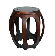 chinese oriental brown huali wood curved barrel shape stool chairish