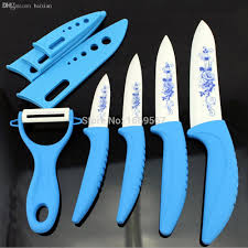 online cheap wholesale ceramic knife sets floral print kitchen