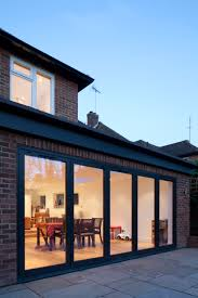 rear extension brick finish dark grey aluminium bi fold doors