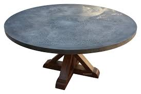 hammered zinc round dining table u2013 mortise u0026 tenon