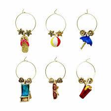 set of 6 distinctive themed wine charms theme