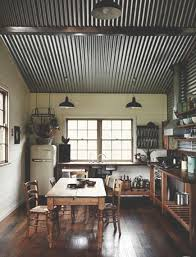 House Ideas For Interior Corrugated Ceiling End Grain Flooring Open Cabinets Vintage