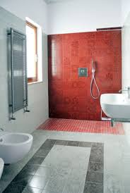 apartments modern red bathroom with mediterranean tile ideas