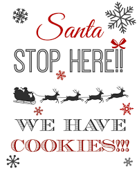 free printable christmas eve milk and cookies sign for santa