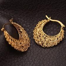 real gold earrings vintage earrings women gift fashion jewelry free shipping 18k real