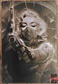 marilyn monroe tattoos u0026 gun metal plate tin sign 30x21cm