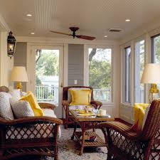 wonderful 3 season porch with arc lamp neutral colors