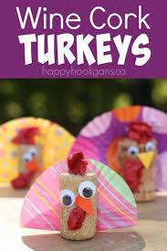 Thanksgiving Crafts Turkeys Wine Cork Turkey Decoration For Kids Turkey Craft Happy