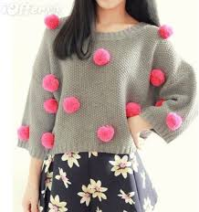 hot women s fur ball batwing sleeve short sweater top for sale