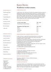 Warehouse Worker Sample Resume by Warehouse Worker Resume Example Http Www Resumecareer Info
