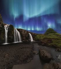 northern lights at kirkjufellsfoss waterfalls iceland photograph