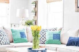 spring living room decorating ideas navy blue green decorating ideas a spring living room refresh