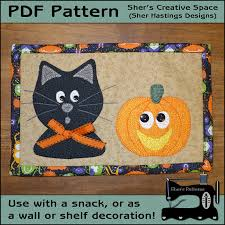 Mug Rug Designs Pdf Pattern For Halloween Mug Rug Cat U0026 Pumpkin Mug Rug Pattern