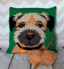 Knitted Cushions Free Patterns Border Terrier Pet Portrait Cushion Cover Knitting Pattern