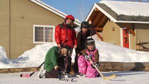 Backyard Gear Four Young Kids Pose In Hockey Gear On Backyard Ice Rink Stock
