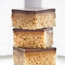 chocolate caramel peanut butter rice krispies treats recipe by