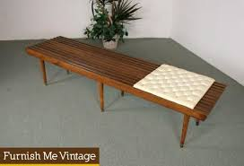 6ft long mid century modern slat bench with cushion