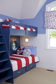 boys bedroom gorgeous blue wooden frame with red stripes sheet