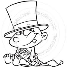 cartoon new year u0027s baby black and white line art by ron leishman