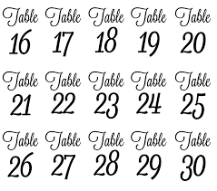 wedding table number fonts wedding table numbers script font vinyl table numbers diy