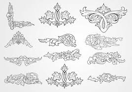 decorative floral outlined ornament vectors free vector