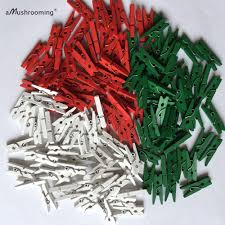 1000 x handmade mini wooden clothespins red black white green