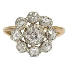 mine cut engagement ring antique georgian 1 5 carat mine cut cluster ring for