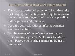 real estate administrative assistant resume executive