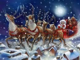 santa claus on christmas eve draw dark blue deers drawed