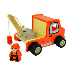 wooden truck toy i u0027m toy deluxe wooden crane truck