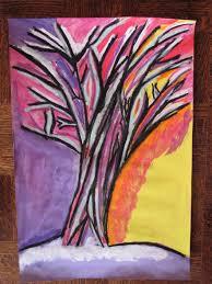 fauves winter tree grade 5 oil pastel tempera paint student