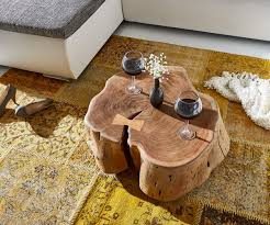 Wohnzimmertisch Natur Couchtisch Live Edge Xl Akazie Natur Mit Rollen Baumstamm Möbel