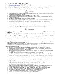 Pmp Sample Resume by Resume Senior Projects Planner Schedule