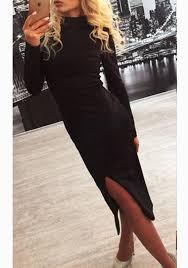 black plain slit long sleeve elegant midi dress midi dresses