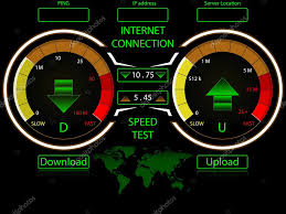 Ip Address Map Internet Connection Speed Test Gauges Download And Upload With
