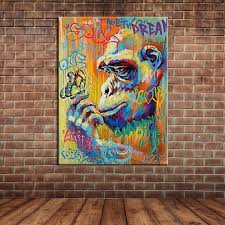 popular wall mural painting buy cheap wall mural painting lots cartoon animal art colorful monkey holding a butterfly oil painting canvas wall mural picture home decoration