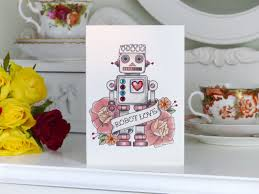 handmade birthday card vintage robot and rose tattoo
