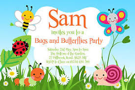 10 personalised birthday invitations garden bugs party