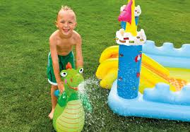 intex kids inflatable backyard fantasy castle water slide play