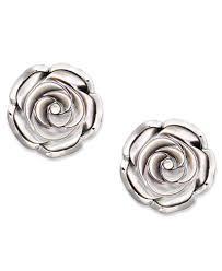 flower stud earrings sterling silver earrings cultured tahitian of pearl flower