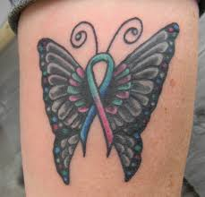 butterfly with thyroid cancer ribbon