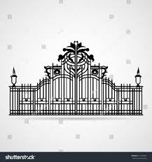 graphical ornamental gate on white vector stock vector 113250202